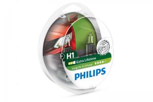 Автолампа 12V PHILIPS H1 55W LIifeTime x 4 к-кт 2 шт.