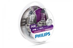 Автолампа 12V PHILIPS H4 60/55W VisionPlus к-кт 2 шт
