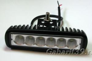 Фара LED 18W / flood (черный узкий корпус)