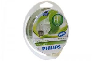 Автолампа 12V PHILIPS H1 55W EcoVision к-кт 2 шт.