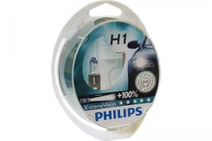Автолампа 12V PHILIPS H1 55W X-TremeVision к-кт 2 шт.