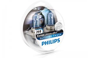 Автолампа 12V PHILIPS H4 60/55W BlueVision Ultra