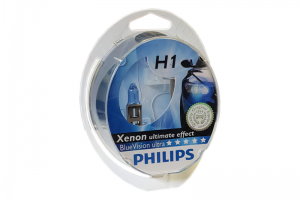 Автолампа 12V PHILIPS H1 55W BlueVision Ultra